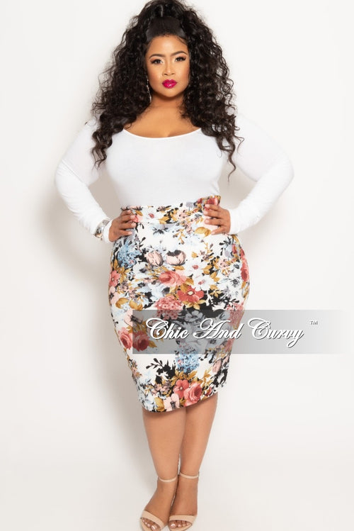 Final Sale Plus Size Pencil Skirt in Multi Floral Print