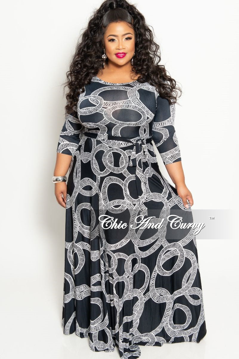 Final Sale Plus Size Long Pocket Dress with 3/4 Sleeve and Tie in ...