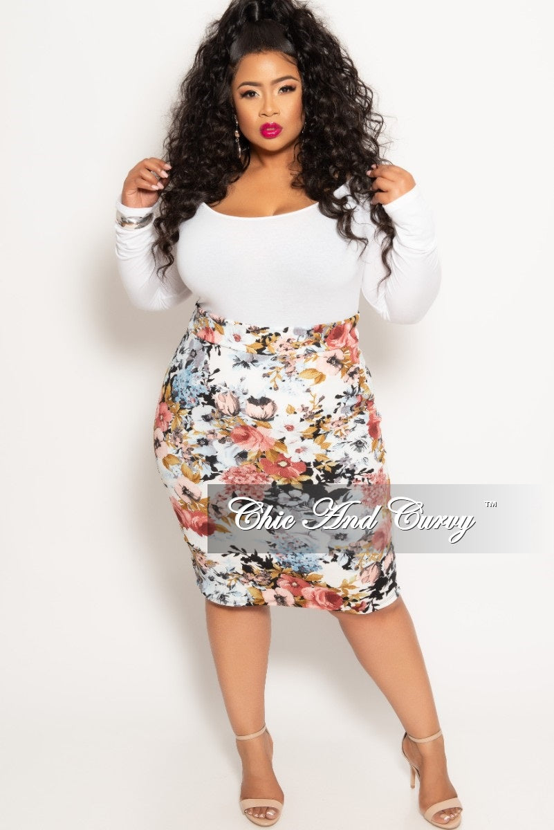 New Plus Size Pencil Skirt in Multi Floral Print