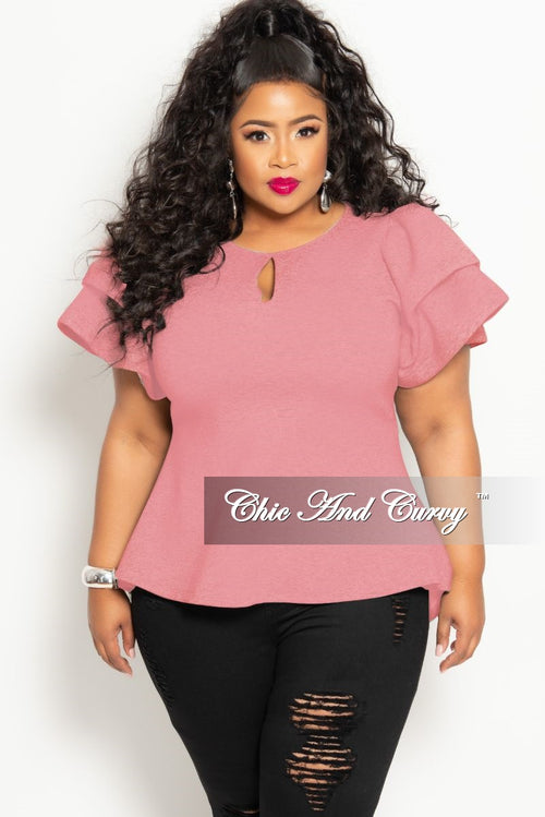 a6f60dc77a4f New Plus Size High-Low Top with Front and Back Keyhole and Double Layers  Sleeves