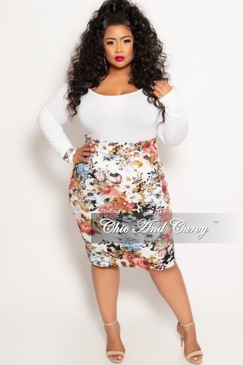 Final Sale Plus Size Long Sleeve Leotard in White