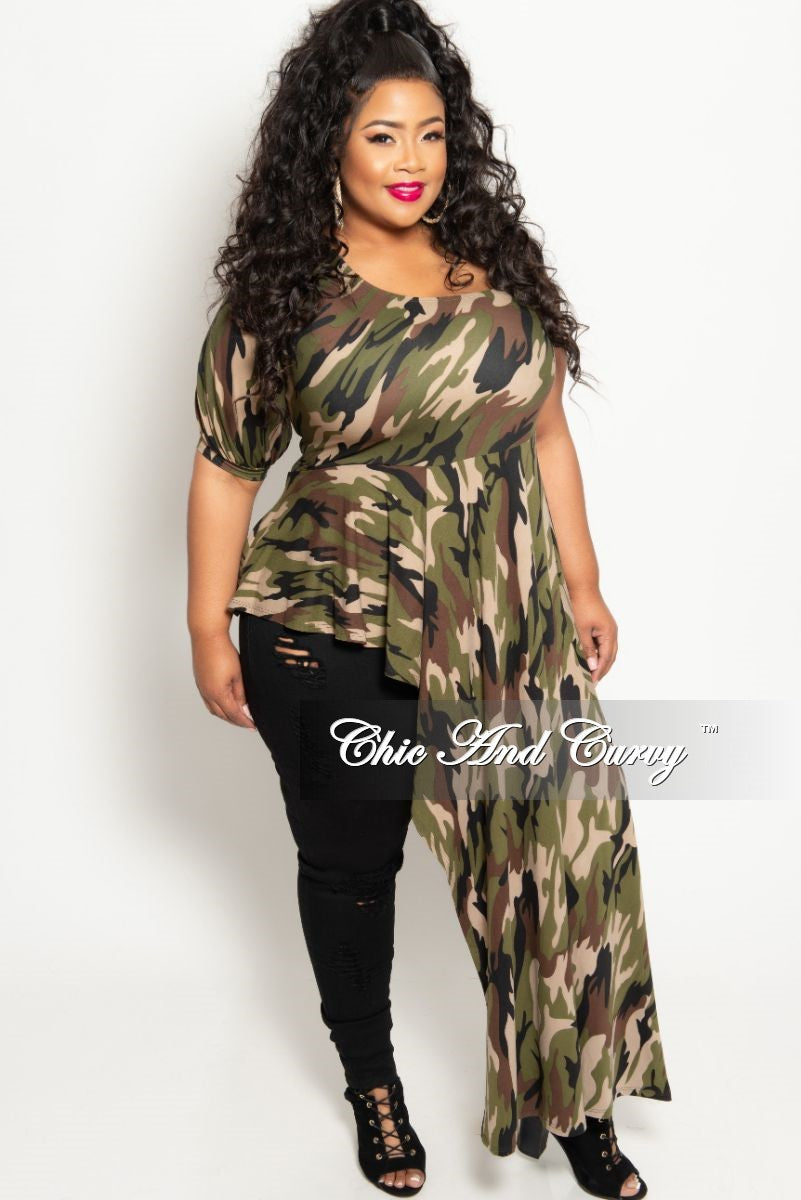 New Plus Size Long One Sided Top in Light Camouflage Print