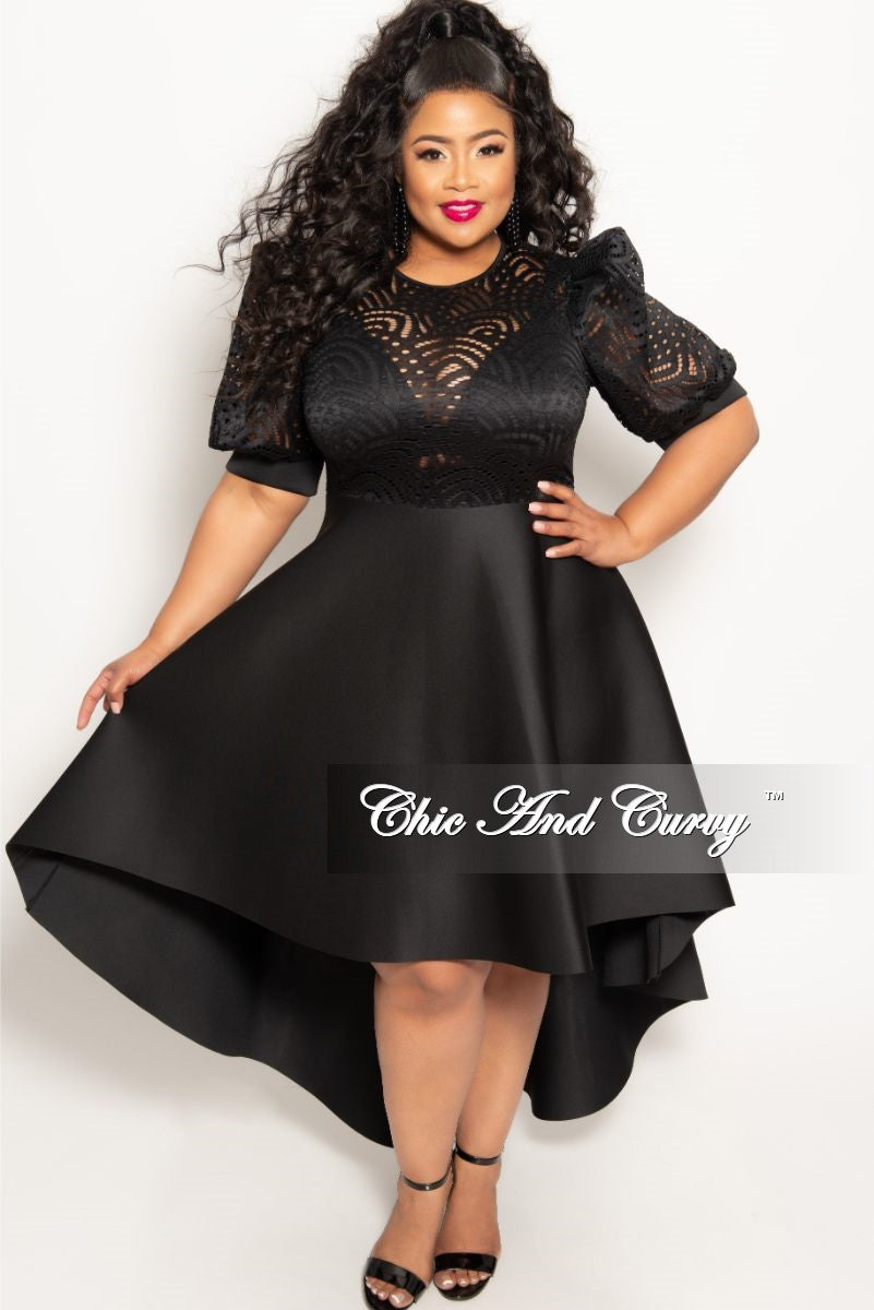 64c9046700 New Plus Size Round Neck Lace High-Low Dress in Black – Chic And Curvy