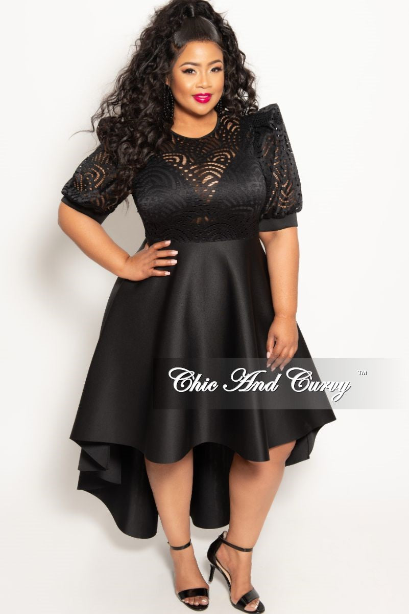 New Plus Size Round Neck Lace High-Low Dress in Black – Chic And Curvy