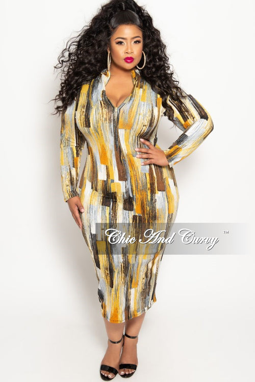 Final Sale Plus Size Reversible Long Sleeve BodyCon Dress in Mustard White Brown and Rust Print