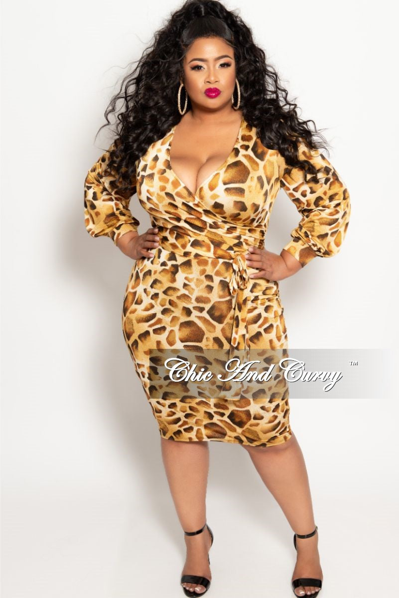 Final Sale Plus Size Long Sleeve Faux Wrap BodyCon Dress with Attached Tie  in Light Animal Print