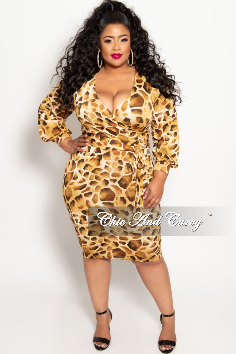 New Plus Size Long Sleeve Faux Wrap BodyCon Dress with Attached Tie in Light Animal Print