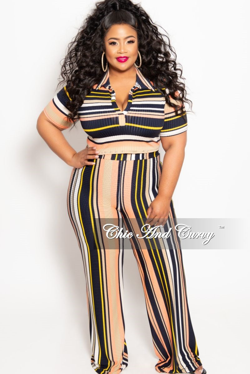 303ed83d35b Final Sale Plus Size 2-Piece Ribbed Short Sleeve Crop Top and Palazzo – Chic  And Curvy