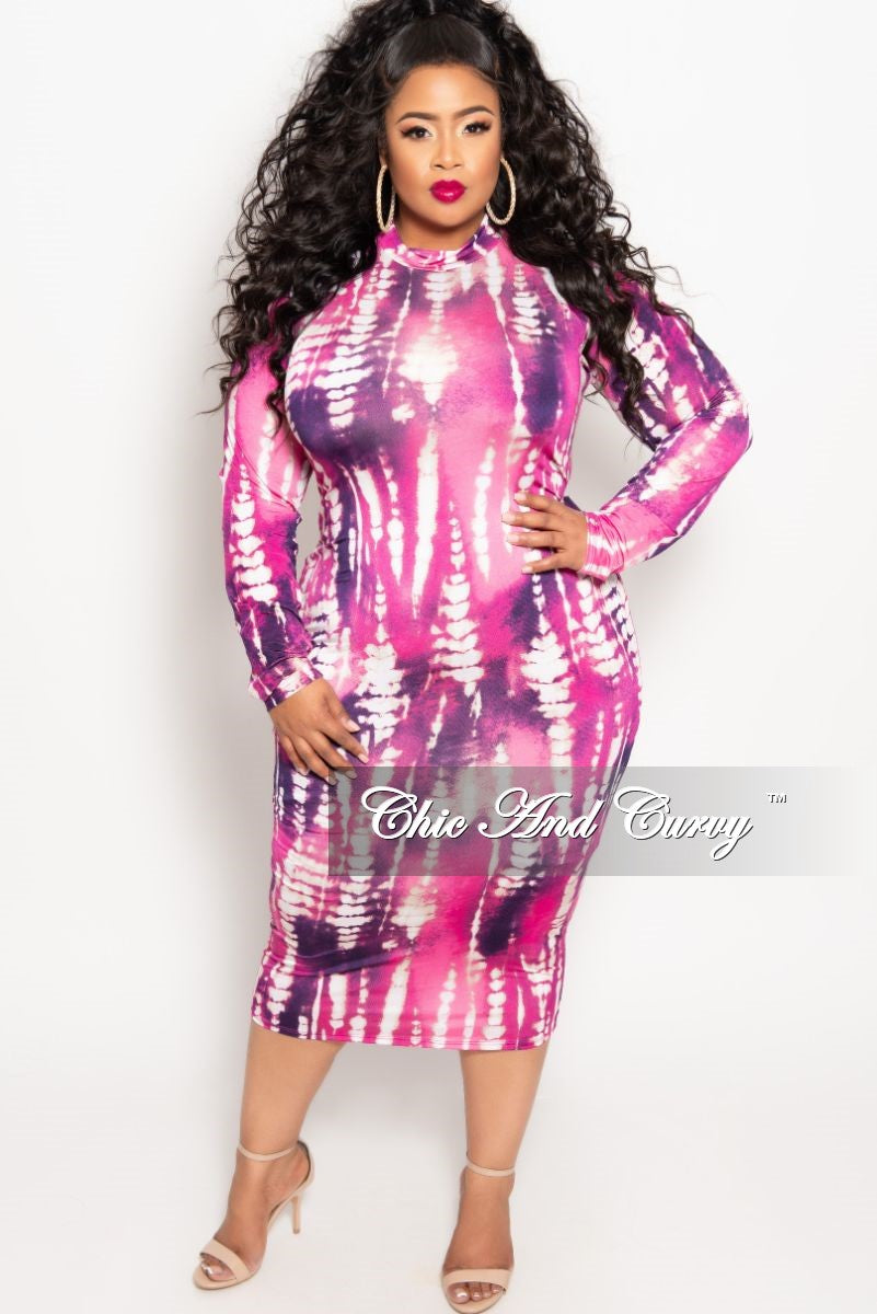 46ced11de80 New Plus Size Reversible Long Sleeve BodyCon Dress in Magenta and Purp –  Chic And Curvy