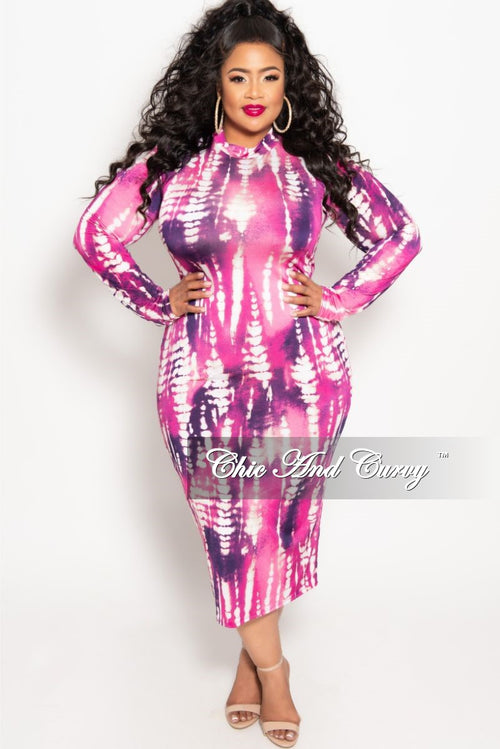 25ba1f9b55b124 New Plus Size Reversible Long Sleeve BodyCon Dress in Magenta and Purple  Print