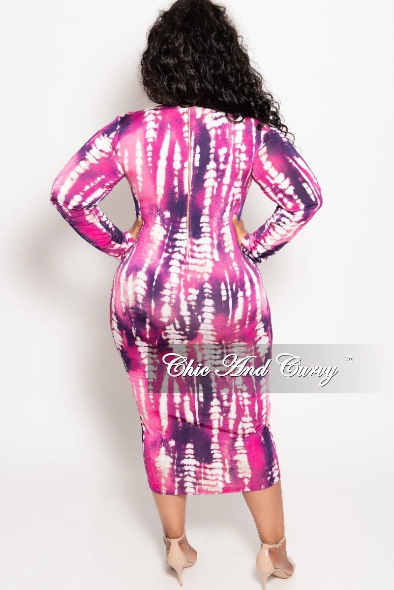 New Plus Size Reversible Long Sleeve BodyCon Dress in Magenta and Purple Print