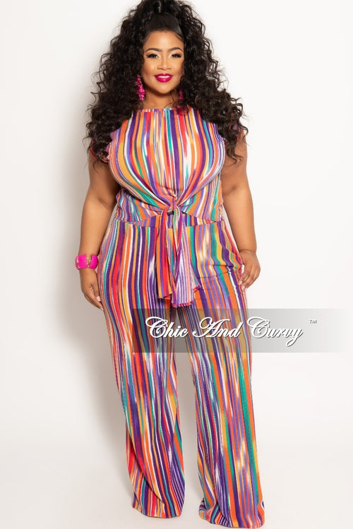 New Plus Size 2-Piece Tie Top and Pants Set in Multi Color Stripe Print