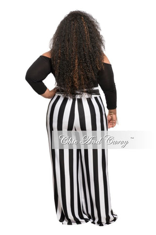 Final Sale Plus Size Bell Stripe Pants in Black and White