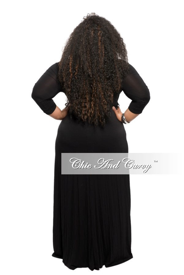 New Plus Size Long Dress with Tie in Black