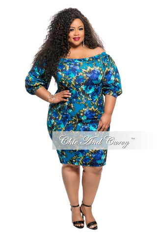 New Plus Size BodyCon Dress with Puffy Shoulder in Blue Floral Print