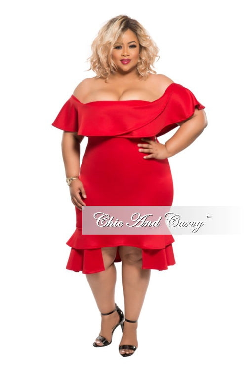 50% Off Sale - Final Sale Plus Size BodyCon Dress with Off the Shoulder Ruffle in Red