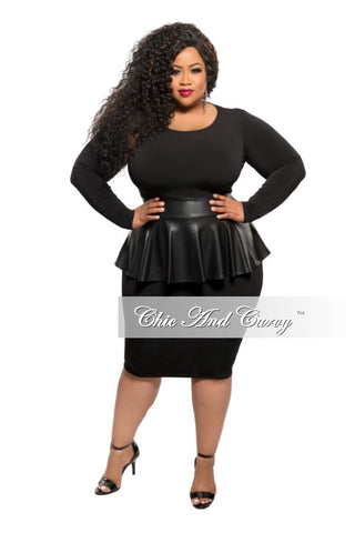 New Plus Size BodyCon Dress with Liquid Peplum Skirt in Black