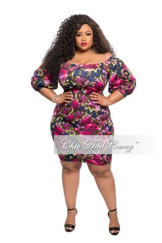 New Plus Size BodyCon Dress with Puffy Shoulder in Magenta Floral Print