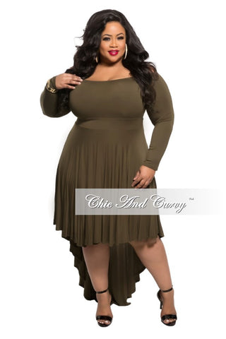New Plus Size Off the Shoulder Dress with High-Low Bottom in Olive
