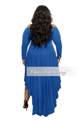 New Plus Size Off the Shoulder Dress with High-Low Bottom in Royal Blue