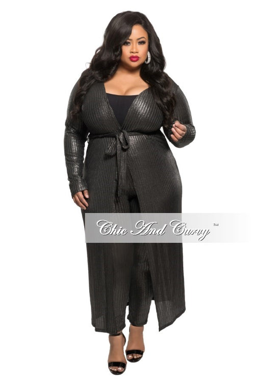 New Plus Size 2 Piece Duster and Pants Set in Black