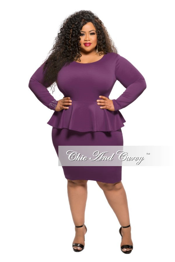 50% off sale - final sale plus size bodycon peplum dress in plum