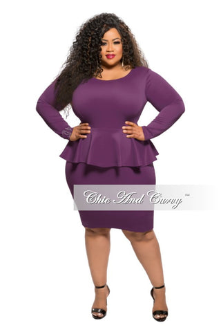 New Plus Size BodyCon Peplum Dress in Plum