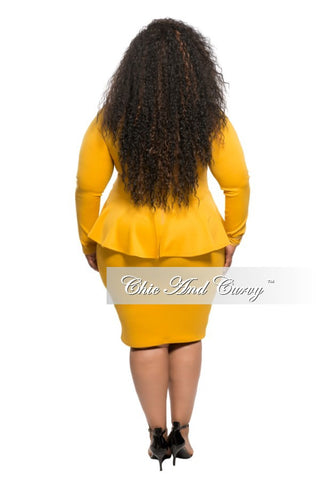 New Plus Size BodyCon Peplum Dress in Mustard