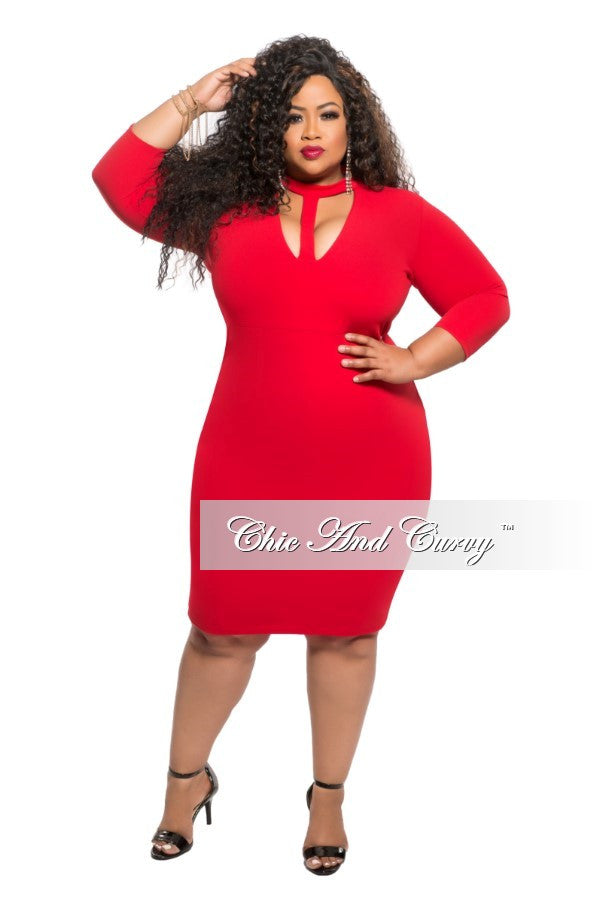 50% off sale - final sale plus size bodycon dress with choker in