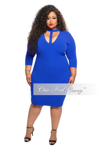 New Plus Size BodyCon Dress with Choker in Royal Blue