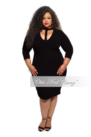 New Plus Size BodyCon Dress with Choker in Black