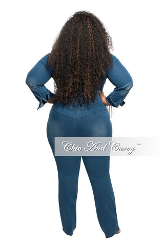 New Plus Size Denim Jumpsuit with Long Sleeves and Button Front