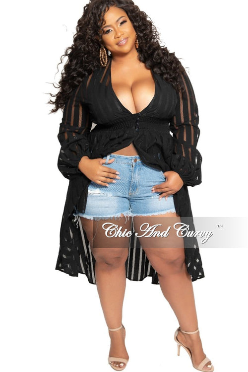 Final Sale Plus Size Sheer High-Low Duster with Front Buttons in Black