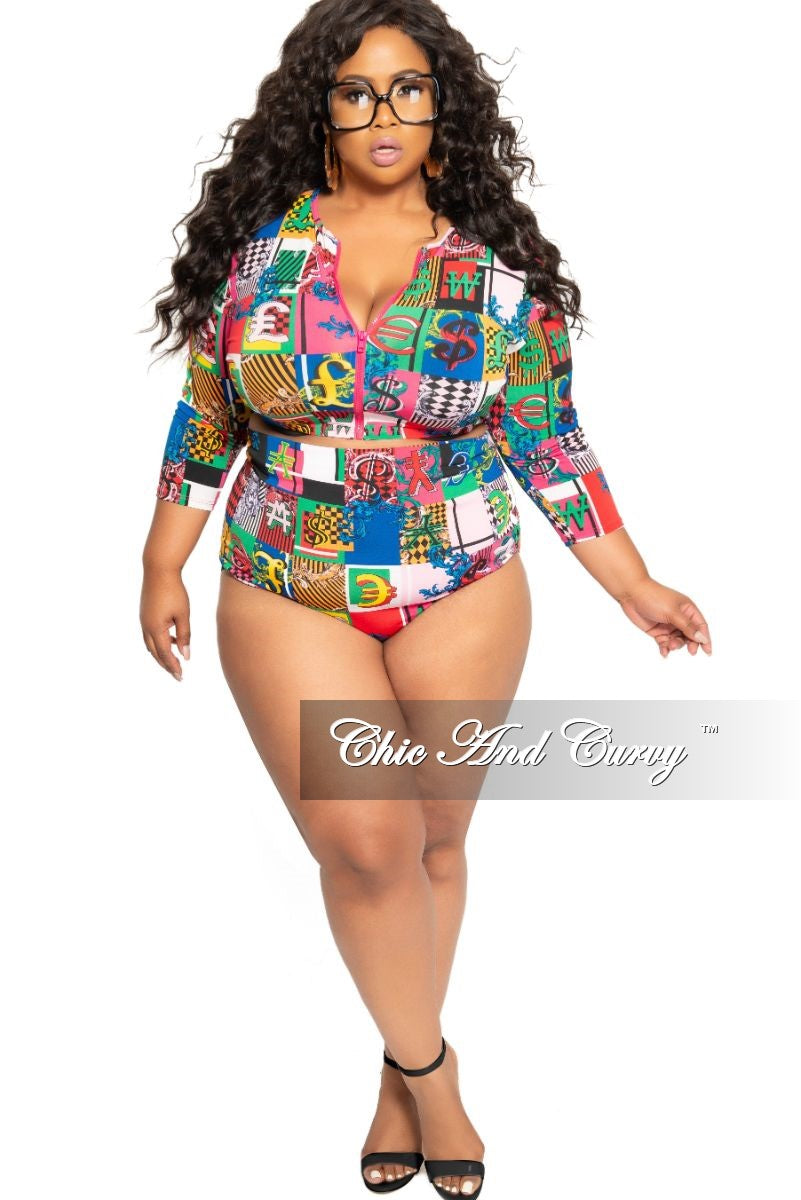 58ca85b92ea Final Sale Plus Size 2-Piece (Zip Up Crop Top and High Waist Brief)  Poolside Playsuit in Multi Color Design Print