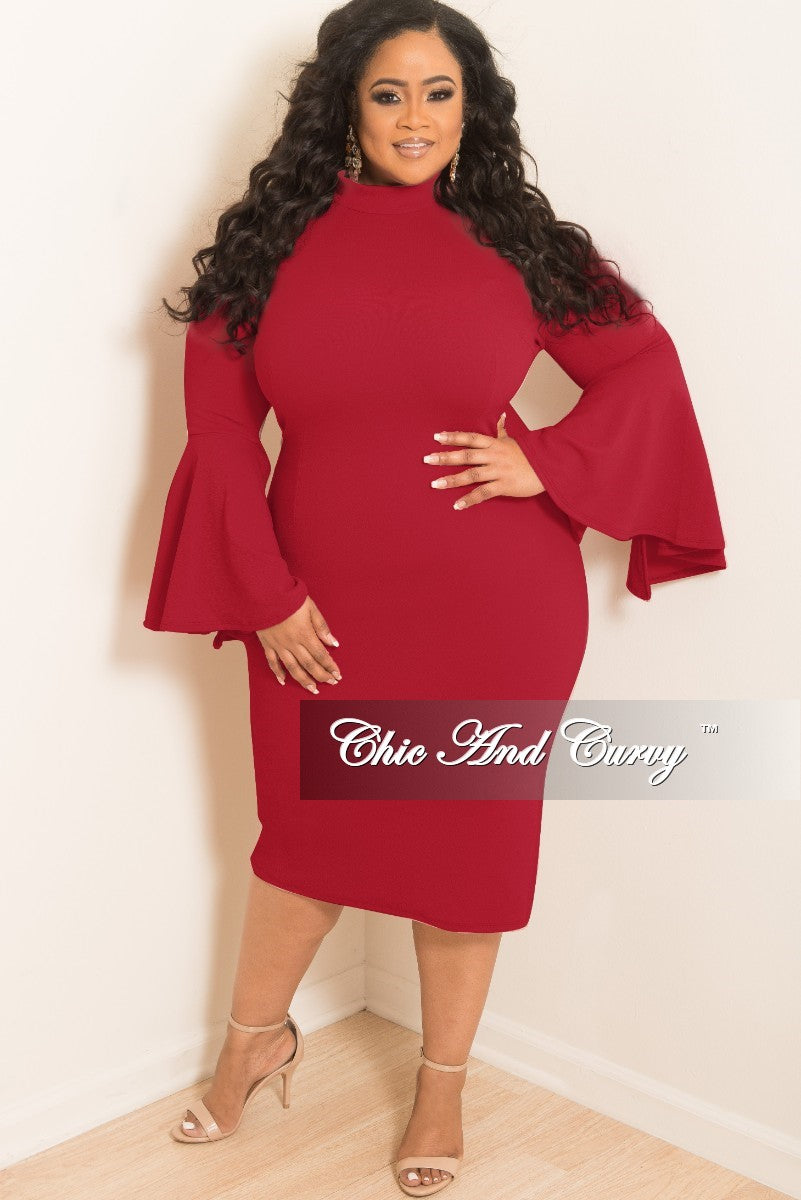 New Plus Size BodyCon Dress with Bell Sleeves in Wine