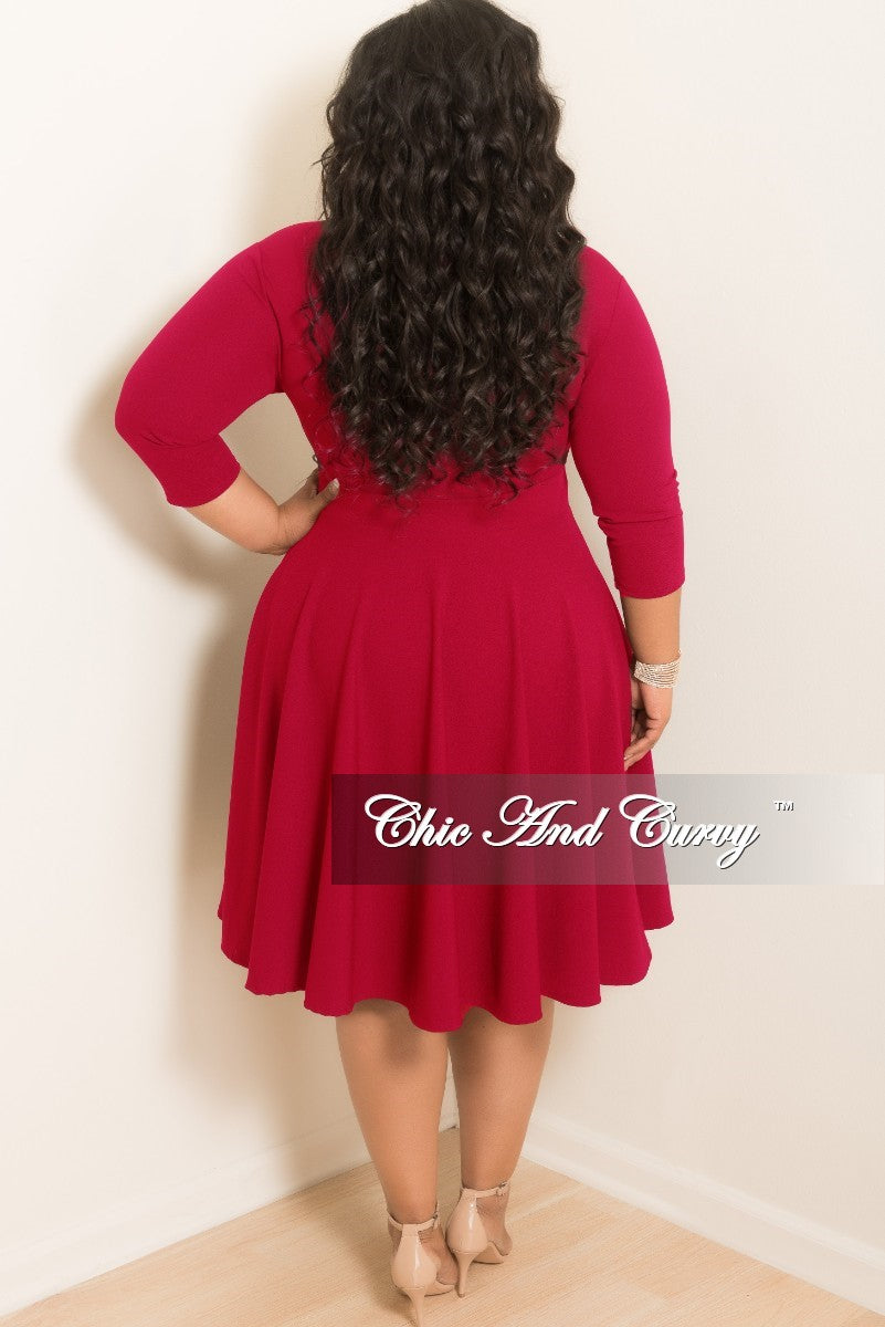 35% Off Sale - Final Sale Plus Size Mock Neck Swing Dress with 3/4 Sleeves in Red