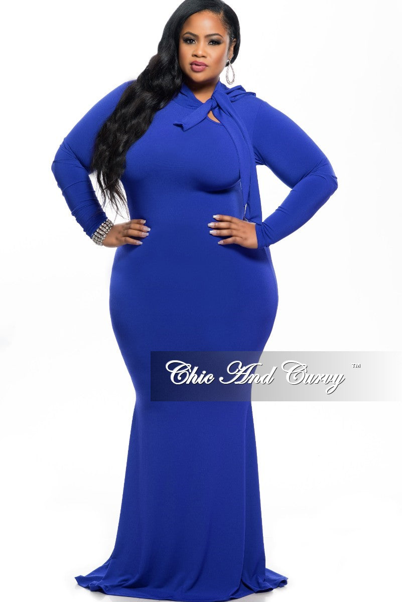 New Plus Size Long Sleeve BodyCon Dress w/ Accent Neck-Tie and Mermaid Bottom in Royal Blue