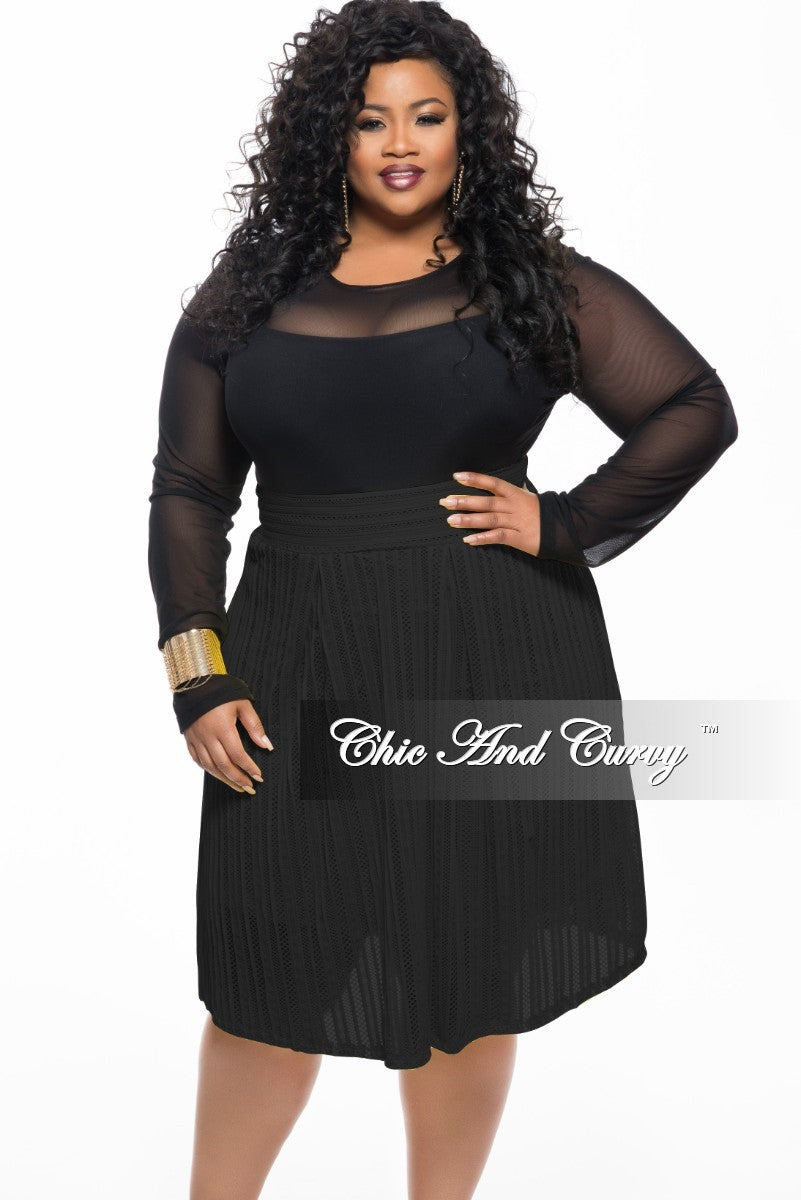 New Plus Size Lined Skirt with Designed Net Top Layer in Black