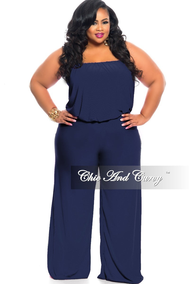 New Plus Size Strapless Jumpsuit with Wide Legs in Royal Blue