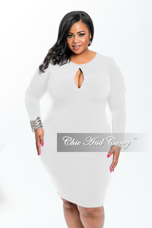 Final Sale Plus Size BodyCon Dress with Front Keyhole in White