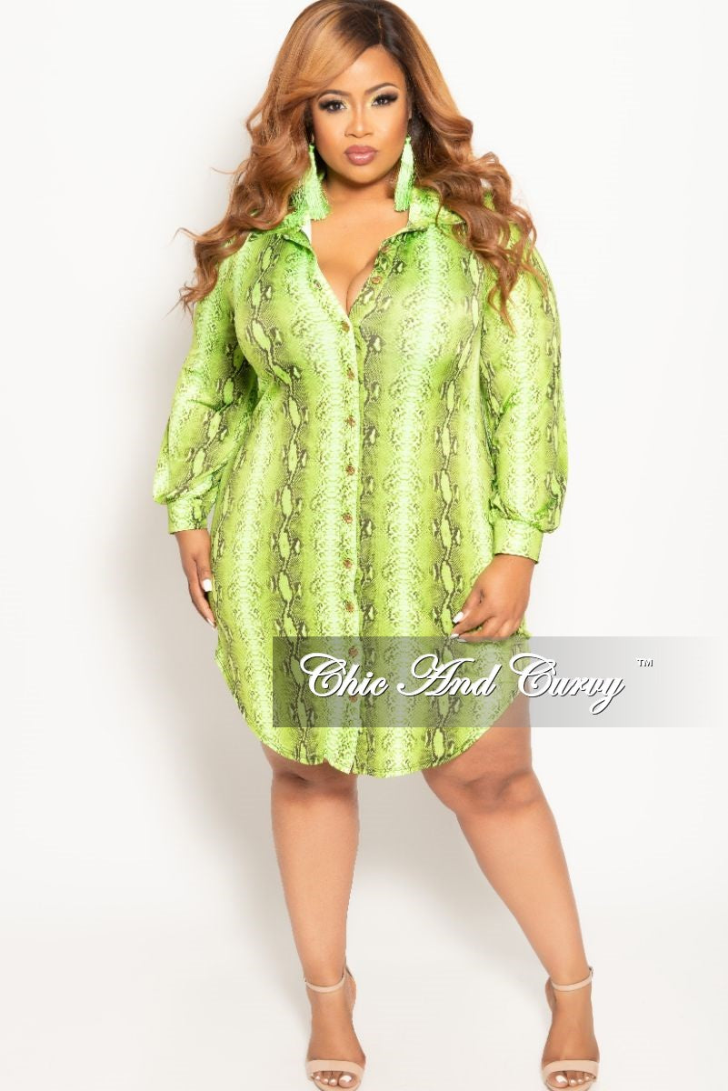 New Plus Size Button Up Collar Dress in Lime Snake Skin Print