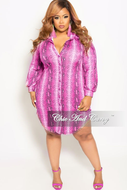 Final Sale Plus Size Button Up Collar Dress in Fuchsia Snake Skin Print