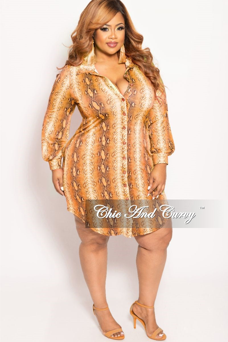 Final Sale Plus Size Button Up Collar Dress in Orange Snake Skin Print