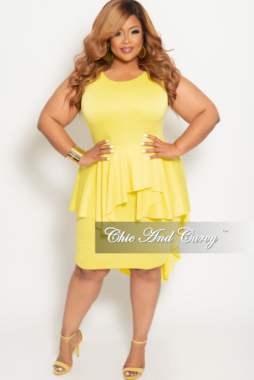 New Plus Size BodyCon Sleeveless Dress with Peplum Tail in Yellow