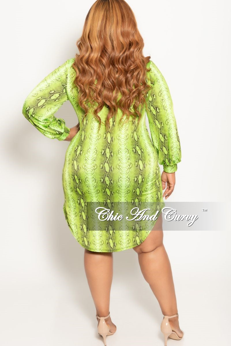 22426377500 New Plus Size Button Up Collar Dress in Lime Snake Skin Print – Chic ...