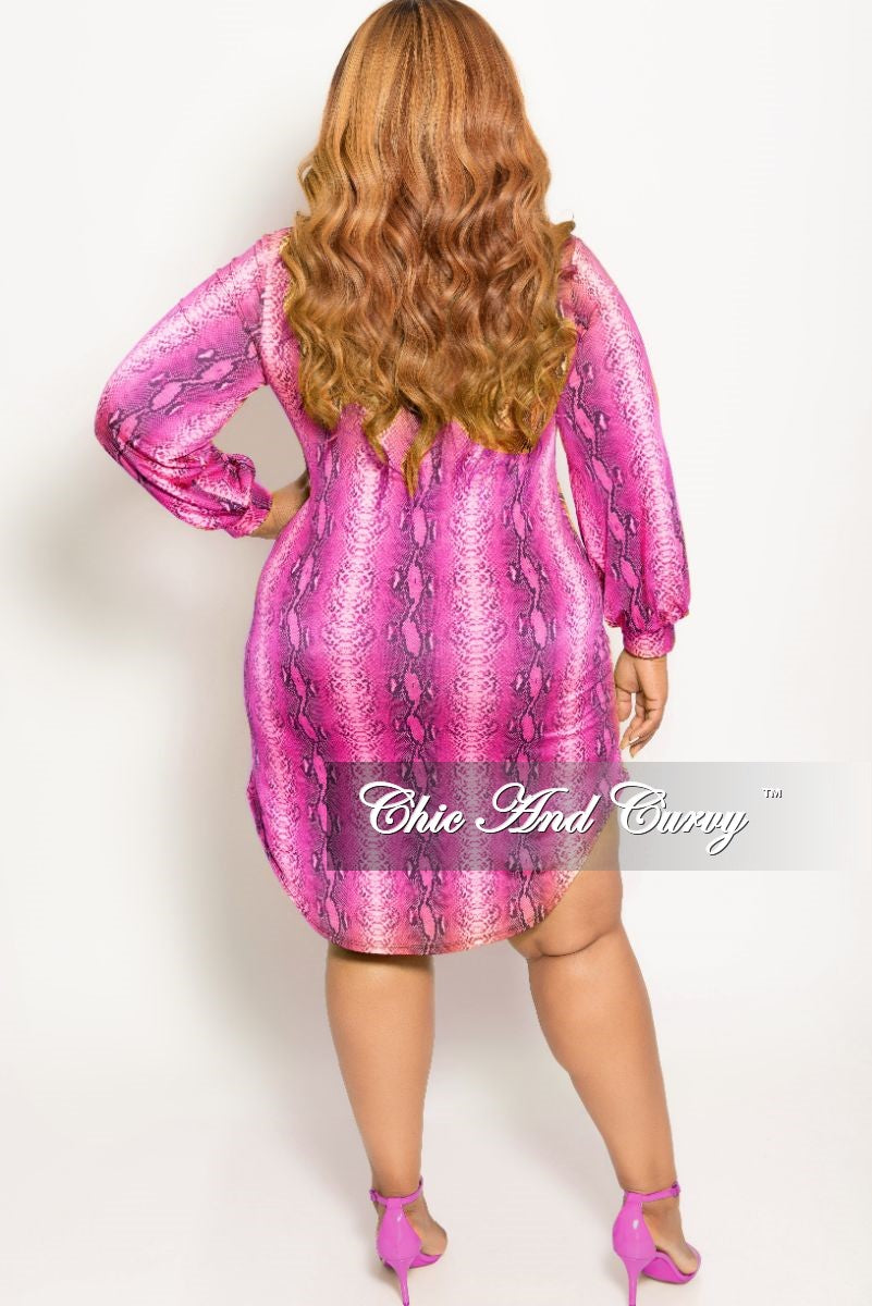 New Plus Size Button Up Collar Dress in Fuchsia Snake Skin Print