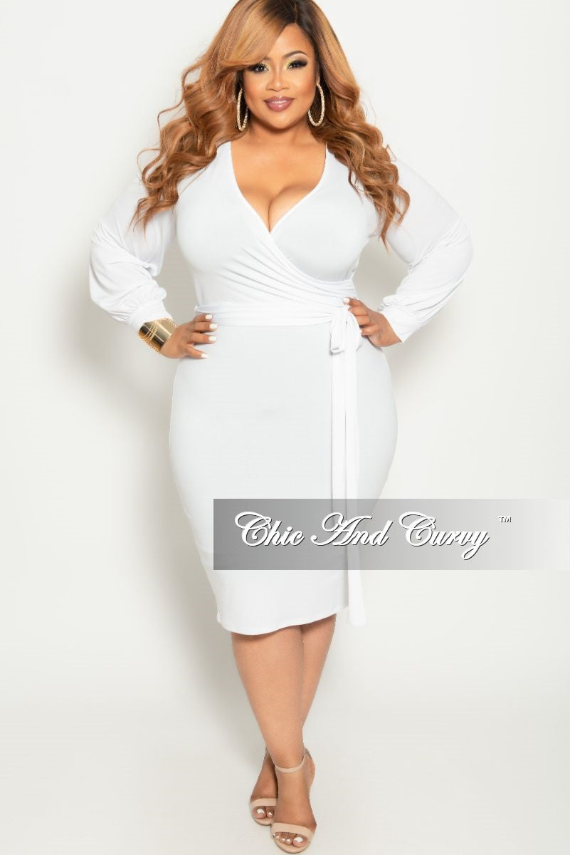 4f9cccb853b Final Sale Plus Size Long Sleeve Faux Wrap BodyCon Dress with Attached –  Chic And Curvy