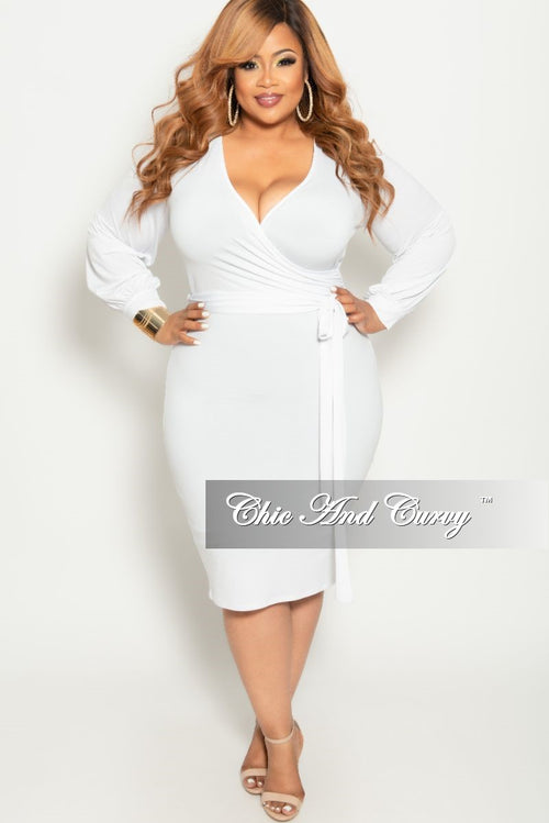 cdc6d30704 Final Sale Plus Size Long Sleeve Faux Wrap BodyCon Dress with Attached Tie  in White