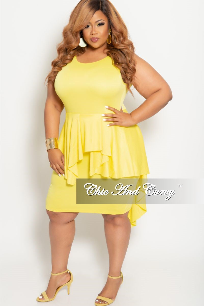 Final Sale Plus Size BodyCon Sleeveless Dress with Peplum Tail in Yellow
