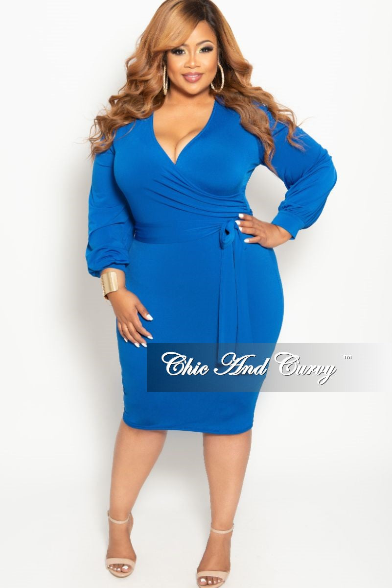 a4c5bcbf859 New Plus Size Long Sleeve Faux Wrap BodyCon Dress with Attached Tie in –  Chic And Curvy